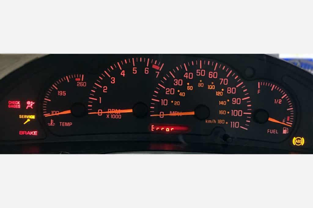 powered on view of a 2000-2005 Pontiac Sunfire Instrument Cluster