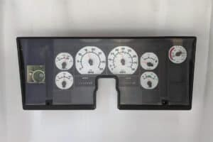 front view of a 1990-2001 International Semi Instrument Cluster with White Gauges