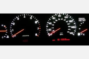 1992-1996 Lexus SC300/400 Instrument Cluster with red needles, white backlight, and red clock/odo