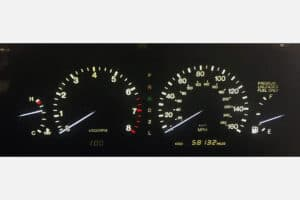 1992-1993 Lexus SC300/400 Instrument Cluster with white gauge needles and white backlights