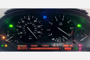 powered on view of a 1995-2005 BMW E38, E39, X5 Instrument Cluster