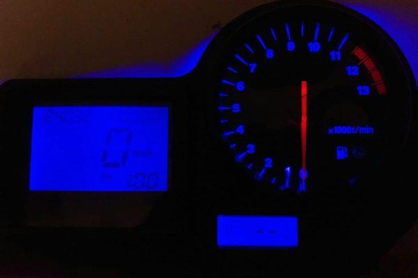 blue LED upgrade on a 2000-2001 Honda CBR Instrument Cluster
