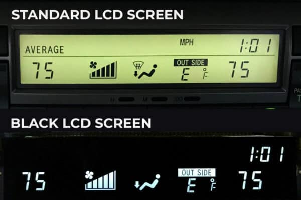 comparison of standard vs. black 2002-2009 Lexus SC430 Climate Control LCD Screens