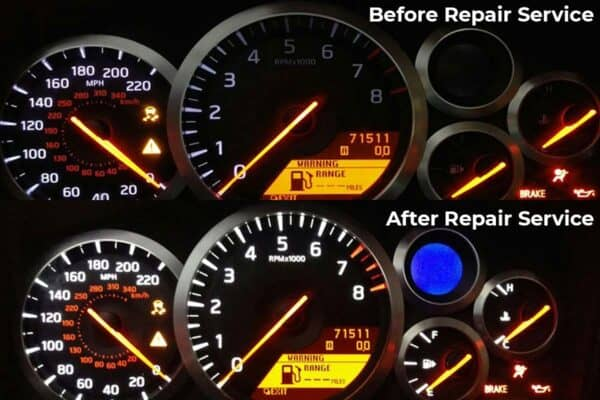 2009-2011 Nissan GT-R Instrument Cluster before & after repair