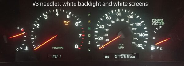 white backlighting and red needles on a Lexus SC300 & SC400 Instrument Cluster