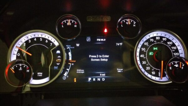 powered on view of a 2013 Dodge RAM Instrument Cluster