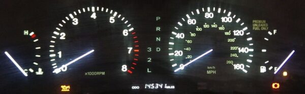 powered on view of a 1995-1997 Lexus LS400 Instrument Cluster