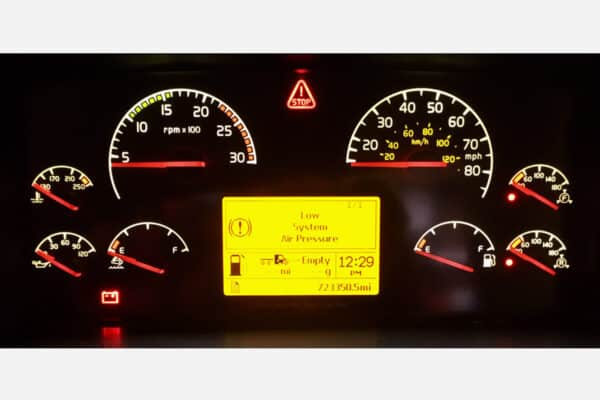 Volvo Semi Truck Instrument Cluster with lights on