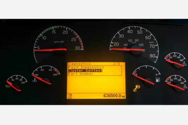 Volvo Semi Truck Instrument Cluster powered on