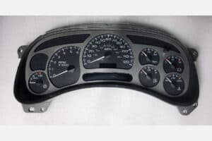 fron view of a 2003-2006 GMC Yukon Denali Instrument Cluster (15224139)