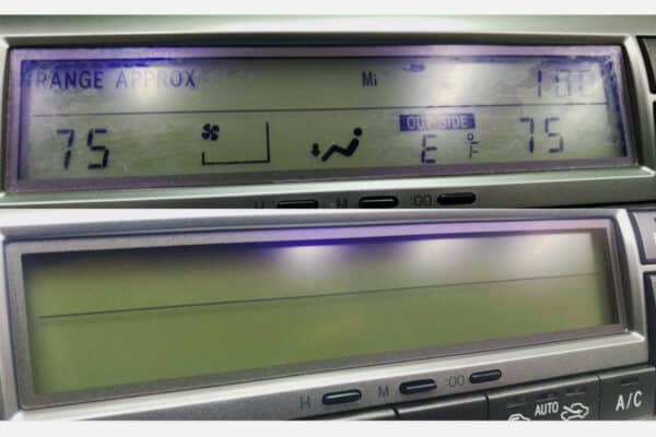 before and after comparison of 2002-2009 Lexus SC430 Climate Control Anti-Glare Screen Protector