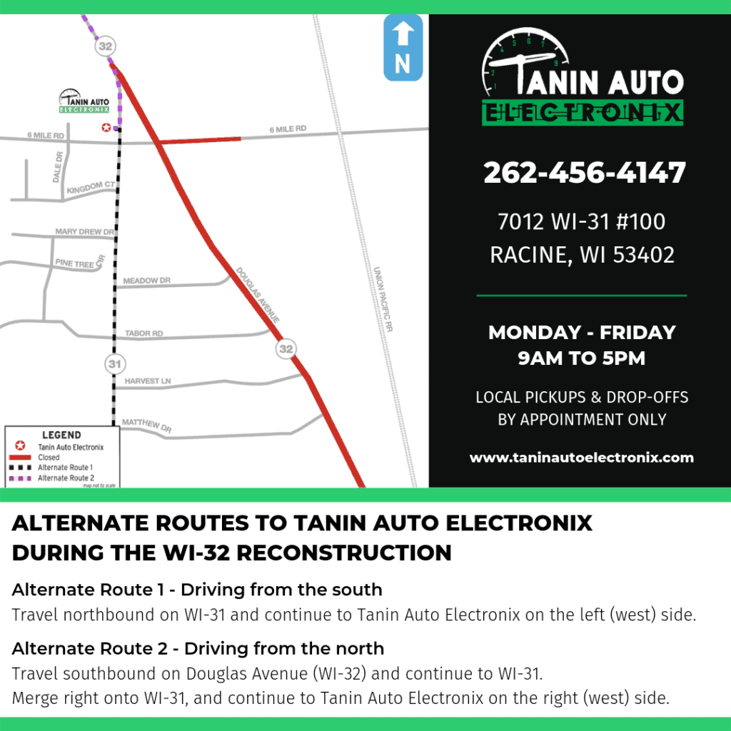 map for alternate routes to Tanin Auto Electronix during WI-32 construction