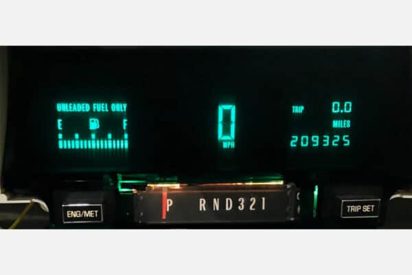 powered on view of a 1990-1996 Cadillac Fleetwood Instrument Cluster